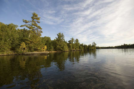 lakefronts: Lake shoreline, Lake of the Woods, Ontario, Canada Stock Photo