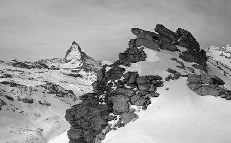 valais: The Matterhorn towers, Swiss ski resort, Zermatt, Valais, Switzerland Stock Photo