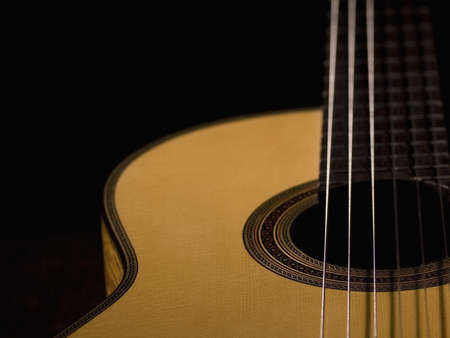 nylon string: Close-up of an acoustic guitar