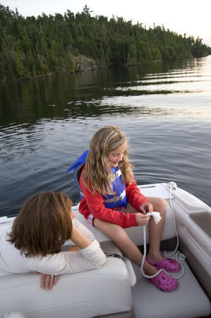 lifevest: Boating, Lake of the Woods, Ontario, Canada Stock Photo