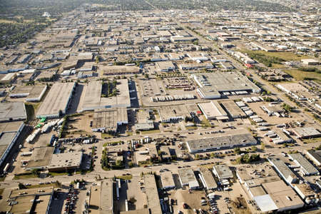 Aerial view of industrial district Imagens