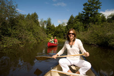 family unit: In a canoe, Muskokas, Ontario, Canada   Stock Photo