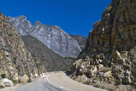kings canyon national park: A road through Kings Canyon National Park, California, USA Stock Photo