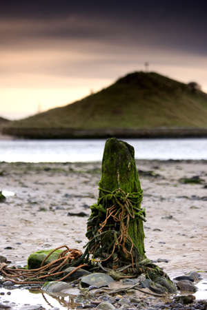 post: Nautical post, Alnmouth, Northumberland, England Stock Photo