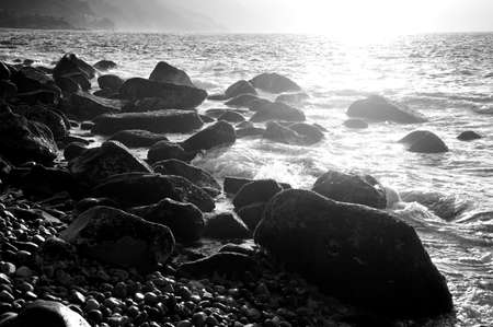 black and white photography: Rocky seashore, Puerto Vallarta, Mexico Stock Photo