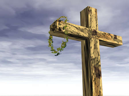Religious symbol; The cross and crown of thorns photo