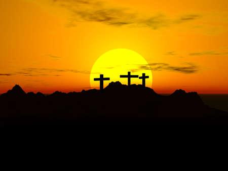 kruzifix: Kreuzigung; Drei Kreuze in the sunset