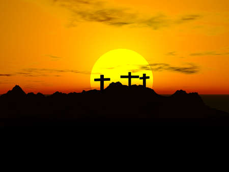 Crucifixion; Three crosses in the sunset