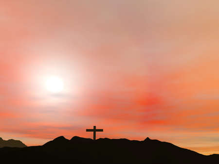 Crucifixion; A cross with a red sky Stock Photo