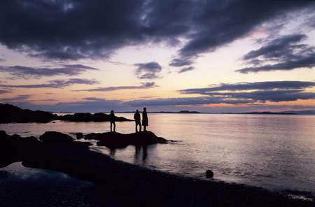 nightfall: Enjoying a sunset, Kintyre, Argyll and Bute, Scotland Stock Photo