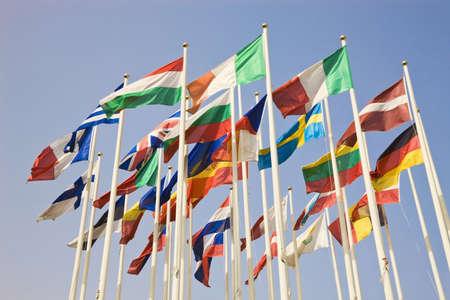 Groep van internationale land vlaggen  Stockfoto
