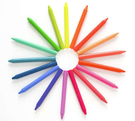 Crayons; crayons forming a circular pattern