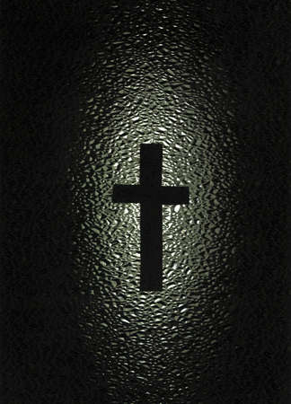 A black cross with a water effect background