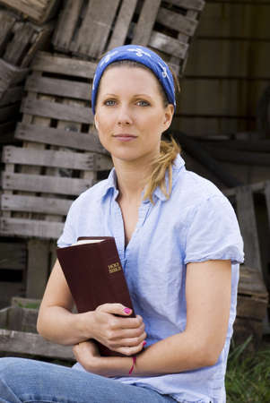 caucasian ancestry: Female missionary with bible