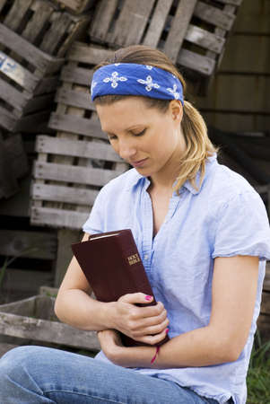 Female missionary with bible Stock Photo - 7204462