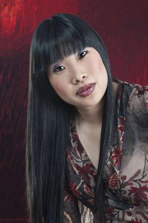 Asian woman with long black hair Banco de Imagens - 7194599