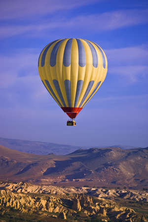 Hot air balloon over Goreme valley, Cappadocia, Anatolia, Turkey