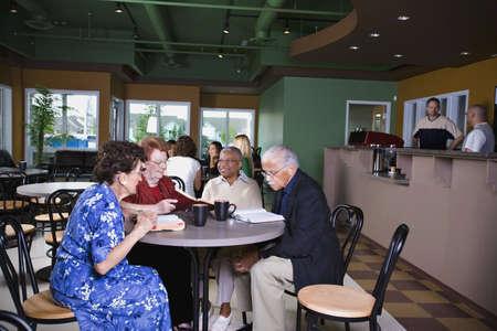 レストランでは高齢者 写真素材