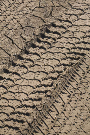 tire tread: Tire tracks in dried and cracked mud; Laval, Quebec, Canada Stock Photo