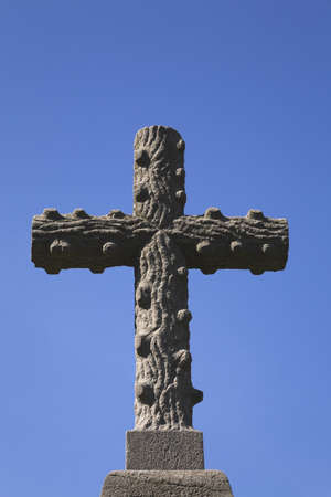 Cement cross in a cemetery; Laval, Quebec, Canada photo
