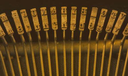 Row of keys on old manual typewriter