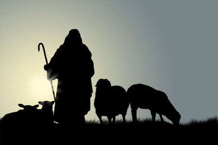 shepherd sheep: Shepherd with sheep Stock Photo