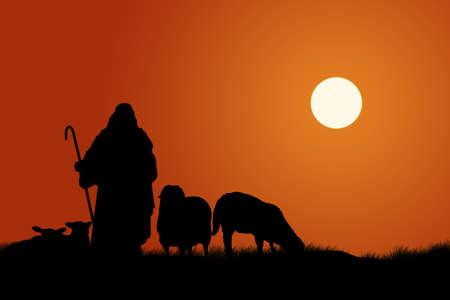 pastor de ovejas: Silueta de pastor y ovejas