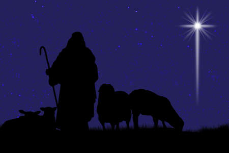 Silhouette of shepherd and sheep with a bright star in the sky photo