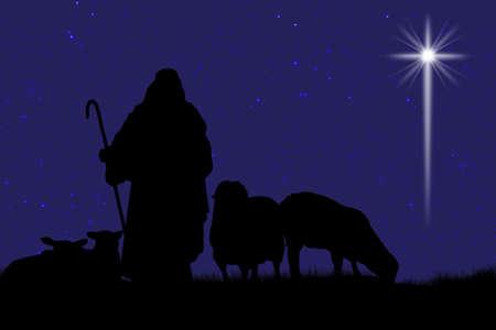 pastor de ovejas: Silueta de pastor y ovejas con una estrella brillante en el cielo