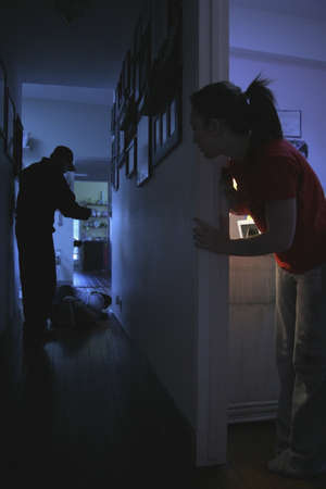domestic: Teenage girl witnessing domestic violence Stock Photo