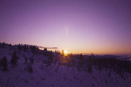 Sunset on snowy landscape Stock Photo - 7191025