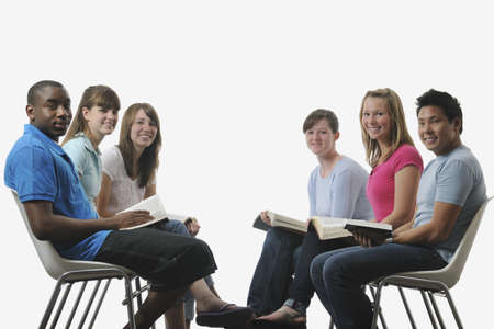 medium shot: A diverse group of young adult Christians Stock Photo