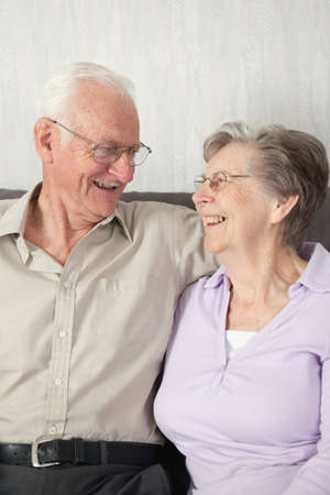 caucasian ancestry: Portrait of a happy senior couple