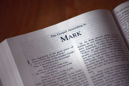 The Bible opened to the book of Mark