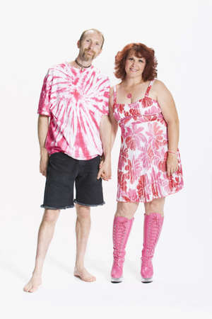 Couple dressed in 1970s clothing