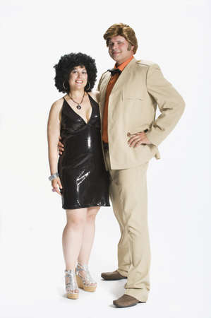 caucasian ancestry: Couple dressed in 1970s clothes