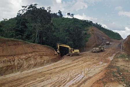 Road construction through tropical rainforest, Belize Stock Photo - 7191482
