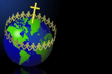 circling: Paper men circling around the globe