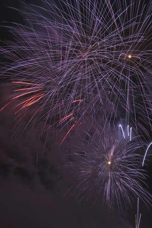 streak lightning: Fireworks, Crowsnest Pass, Alberta, Canada Stock Photo