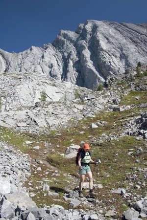 caucasian ancestry: Female hiker on rocky trail, Kananaskis Country, Alberta, Canada