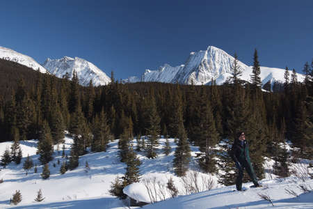 snowshoes: Man on snowshoes in snow covered meadow