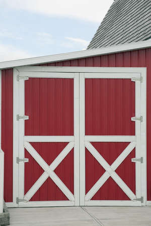 white trim: alberta, canada; red barn with white trim