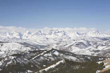 front range: alberta, canada; view of the front range mountains and the foothills from carbondale hill in the winter Stock Photo