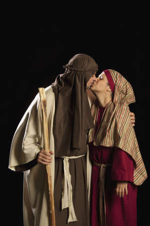 people dressed as mary and joseph photo