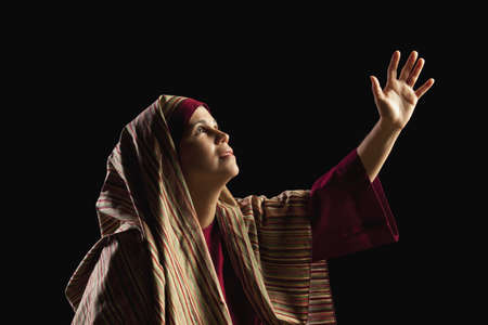 actors: woman depicting mary, mother of jesus Stock Photo