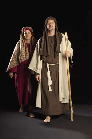 depicting: people depicting mary and joseph