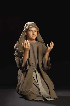 boy portraying a young jesus 写真素材