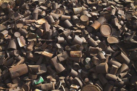 landfill site: pile of rusted cans, siwa, egypt Stock Photo