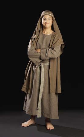 ni�os actuando: ni�o representando a un joven jesus Foto de archivo