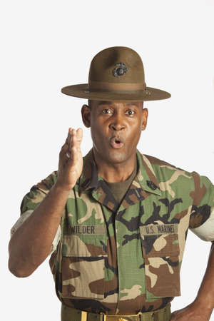 african ancestry: fort lauderdale, florida, united states of america; a military man giving orders